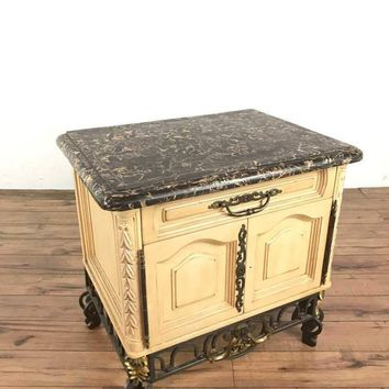 Vintage French Rococo Style Carved and Painted Wood Marble Top Sideboard