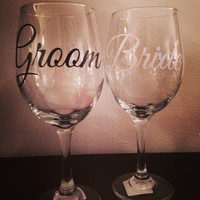 Bride & Groom Wine Glass Set