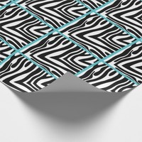 Blue Trimmed Zebra Tiled Wrapping Paper