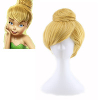 Cartoon Princess Tinker Bell Tinkerbell Wig Costume Adult Fairy Tinker Bell Full Cosplay Wigs Blonde Hair Perucas Pelucas
