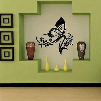 Butterfly Flower Pattern Tribal Tattoo Wall Art Sticker Decal t462