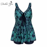 2017 New Women Two-piece Swimsuit Plus Size Swimwear Green Print Bathing Suits Big Size Tankini Set With Shorts Fat MM Clothing