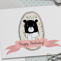 Cute Happy Birthday Card, Bear Birthday Card, Cute Birthday Card, Birthday Card for Daughter, Birthday Card for Friend,5.5 x 4.25 Inch (A2)