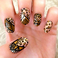 Tribal/Aztec Leopard Print Fake Nails by CompulsiveNails on Etsy