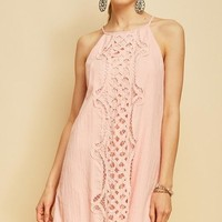 Peach Halter Crochet Dress