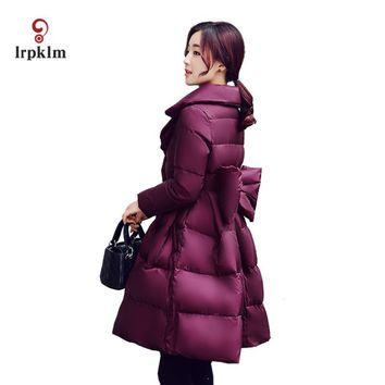 2017 Fashion Women Turndown Collar Winter Jacket Female Long Slim Waist With Bow Coat Women's Warm Cotton Padded Parkas PQ027