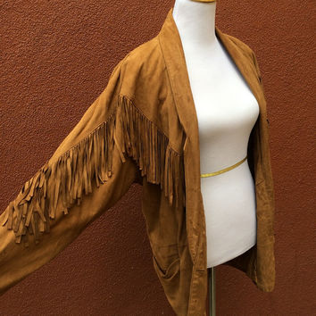 Vtg 80's Suede Fringe jacket blazer Lightweight pockets buttons gorgeous XL Large