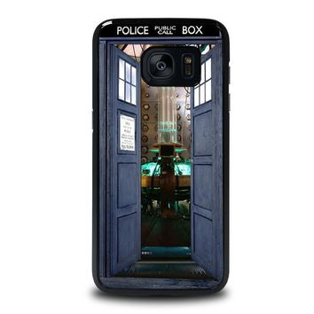 dr who tardis open the door samsung galaxy s7 edge case cover  number 1
