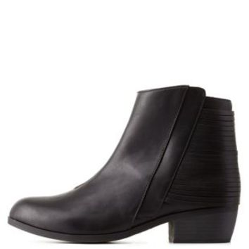 Black Slatted Flat Ankle Booties by Qupid at Charlotte Russe