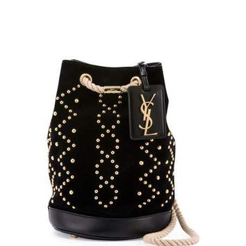Saint Laurent Seau Small Studded Bucket Bag, Black
