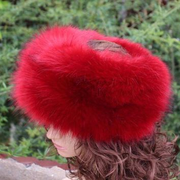 VONG2W new fashion faux fur huff multicolor sleek warm soft top quality fake fur hat winter women fluffy head decoration fashion