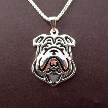 Daisies 1pc Cute Bulldog Pendant Silver Necklace Fashion Statement Jewlery For Women Hollow Out Accessories