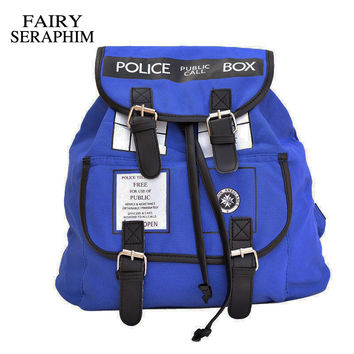 FAIRY SERAPHIM Doctor Who Canvas Printed Anime Dr Who Tardis buckle slouch School bag mochila feminina Backpack