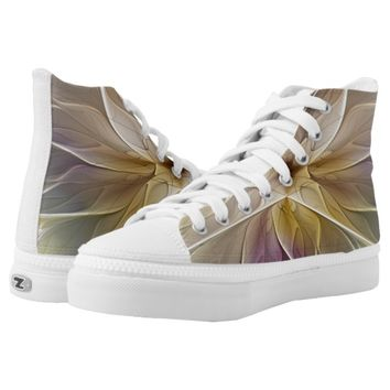 Floral Fantasy Gold Aubergine Abstract Fractal Art High-Top Sneakers