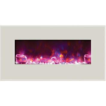 Amantii Fire & Ice Built-in/Wall Mount Electric Fireplace (WM‐BI‐34‐4423-WHTGLS)