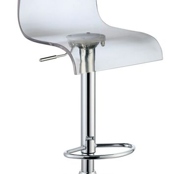 Set of 2 Trixy collection contemporary style clear acrylic high back seat and chrome adjustable bar stool