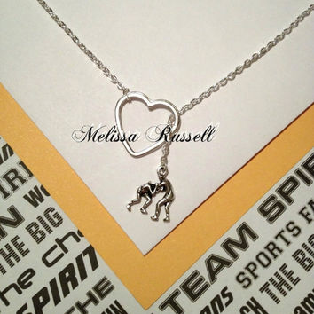 Wrestling charm and heart, silver, lariat necklace, handmade jewelry