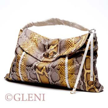 GLENI MAXI CLUTCH IN SOFT PYTHON LEATHER
