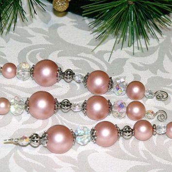 Pink and Silver Christmas Icicles - beaded ornaments holiday decor
