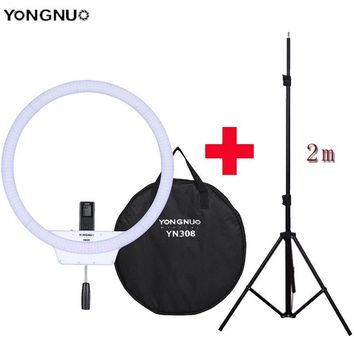 YONGNUO YN308 Wireless LED Video Light Remote Ring Light 3200K~5500K Camera Photo/Studio/Phone Ring Lamp With Tripod Stand