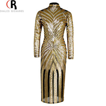 2 Colors Sequined Stripes Maxi Mesh Insert Bodycon Dress Long Sleeve Sexy High Turtleneck Patching Clubwear 2016 Spring Women