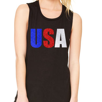 Women's Flowy Muscle USA Glitter Flag Colors 4th Of July Tank