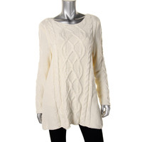 Charter Club Womens Cable Knit Scoop Neck Tunic Sweater