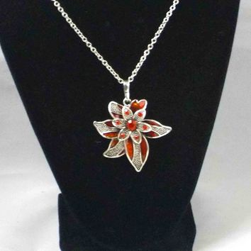 Red Floral Pendant