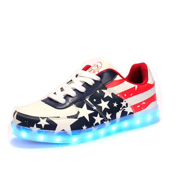 Qoujeily Men Light Up Shoes Casual Colorful Glowing USB Charger Lights Luminous Shoes Light Up Printed Flats LED Shoes