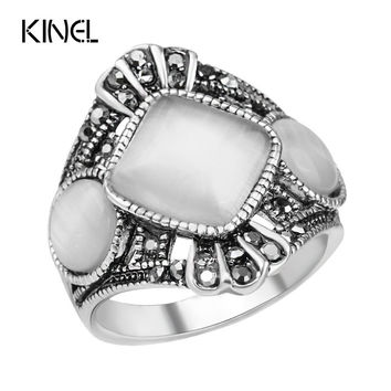 Vintage Opal Rings Sliver Plated Hand Decorated Antique Silver Plated Retro Oval Stone Opal Rings For Women