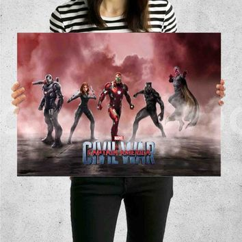 Poster Print Iron Man Team Captain America Civil War Wall Decor Canvas Print - halawatani.com