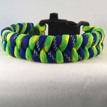 Mystic Mountain - Fishtail Paracord Bracelet with Emergency Whistle Buckle