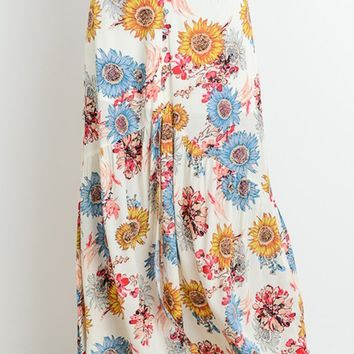 Daisy Bouquet White Floral Pattern Center Slit Casual Maxi Skirt