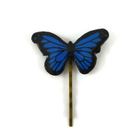 Royal blue and black Morpho butterfly bobby pin, dark blue butterfly hair pin, eco-responsible painted plastic hair accessory (recycled CD)