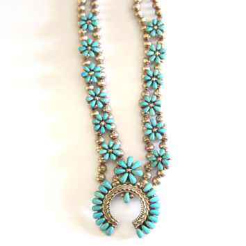 Turquoise Squash Blossom Necklace Floral Star Sterling Vintage - Needs Restring