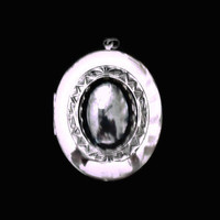 Hematite Locket In Silver Tone, Mother's Day Gift