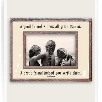 A Good Friend Knows All Your Stories Copper & Glass Photo Frame