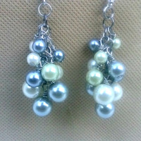 Blue and Green Pearl Earrings , Cluster Earrings,  Fashion Jewelry , Dangling Earrings