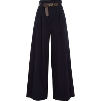 Navy paperbag waist wide leg trousers - Wide Leg Trousers - Trousers - women