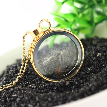 Vintage Jewelry  Gold Color with Glass Round Shaped Dried Flower Dandelion Choker Long Pendant Necklace for Women Party