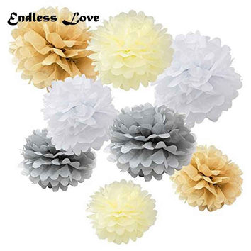 "Set of 8pcs Wedding Decoration supplier 8"" 10"" 12"" Tissue paper pom poms flower for Baby shower wedding party decor favor"