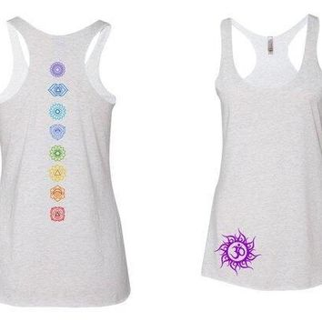 Chakra Wheels Tank-top -colorful  chakras down spine- om symbol - yoga - workout- pj - spiritual - rainbow - energy -ladies shirt