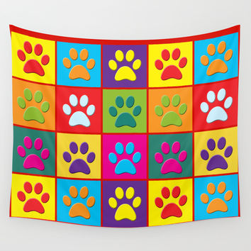 Paw Prints Wall Tapestry by Miss L In Art