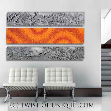 AcryliCrete Abstract Painting, CUSTOM 3 panel (48 Inches x 13 Inhces)  abstract wall art - Orange and metallic silver