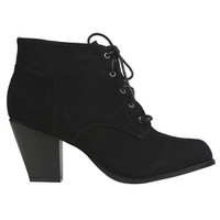 Faux Suede Lace Up Bootie - WetSeal