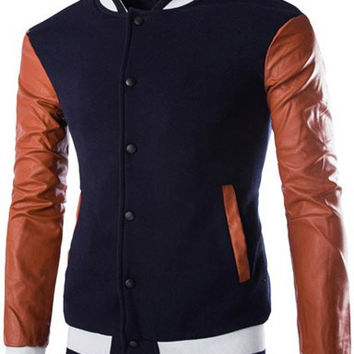 Color Block PU Leather Long Sleeve Button Down Baseball Coat