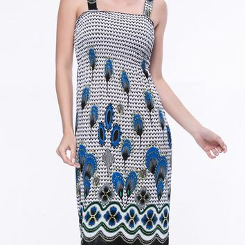 Casual Smocked Bodice Two Way Printed Square Neck Shift Dress