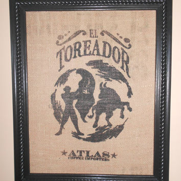 Framed Costa Rica burlap coffee bag art-El Toreador