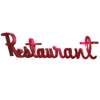 22' Red-Enameled Steel Restaurant Sign