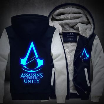 2017New Winter Fashion Luminous pattern Assassin Creed Hoodie Zipper Sweatshirt Ticken Cool Hoodies Men USA EU size Plus size